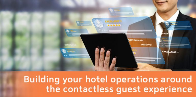 Man holding tablet for hotel operations